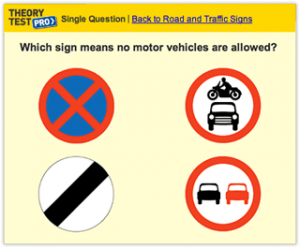 Example of a test question on the Theory Test Pro resource