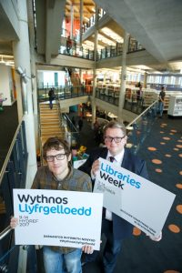 Elis James and Nick Poole in Cardiff Central Library