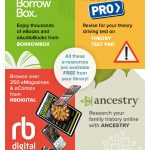 Four digital resources on one poster Borrowbox Theory Test Pro RB Digital and Ancestry