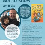 Poster featuring information about Author of the Month Jon Blake