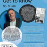Poster featuring information about Author of the Month Dai Smith