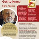 Poster featuring information about Author of the Month Sam Adams