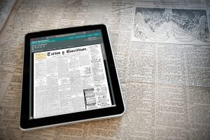 Digital newspaper on a tablet