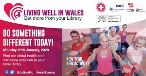 Poster promoting Living Well in Wales campaign featuring a group of people excercising