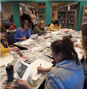 Group of people making Carbon prints and collage on the theme Images of Denbigh