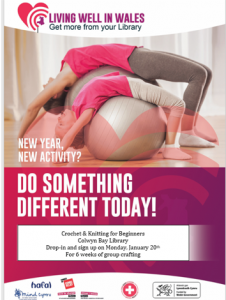 Poster promoting Do Something Different Day featuring adult and child curled over an exercise ball