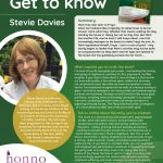 Poster featuring information about Author of the Month Stevie Davies