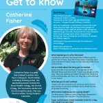 Poster featuring information about Author of the Month Catherine Fisher
