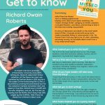 Poster featuring information about Author of the Month Richard Owain Roberts