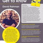 Poster featuring information about Author of the Month David Rahman
