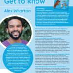 Poster featuring Author of the Month Alex Wharton