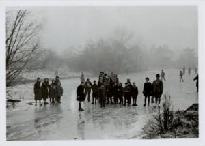 Historical Newtown photograph of children gathering