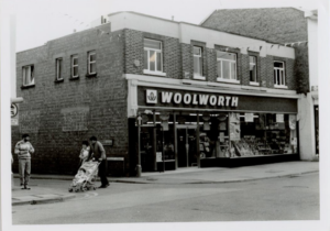 Historical image of Woolworths in Newtown Powys