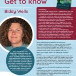 Poster featuring Author of the Month Biddy Wells