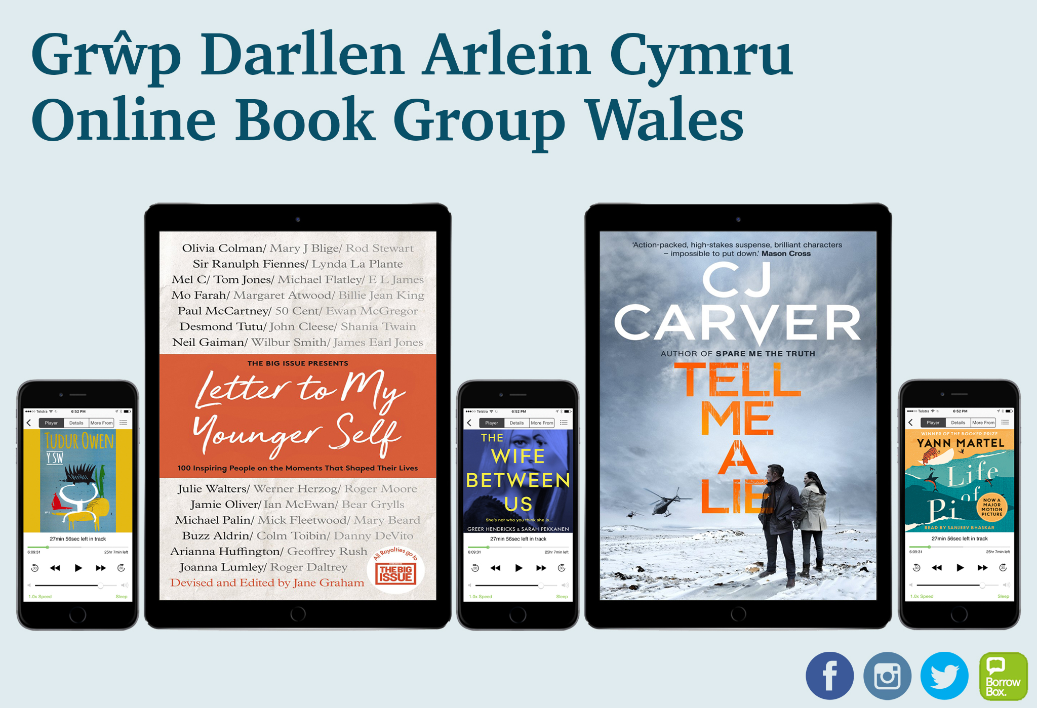 Reading choices for Online Book Group Wales